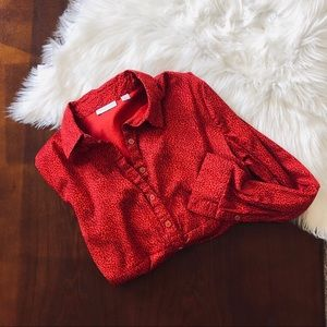 NY&C Red Animal Print Button-Down Blouse